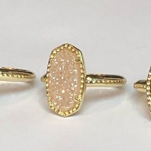 Jewelry - Petite Champagne Sand Drusy & 18k Gold Ring Size 6